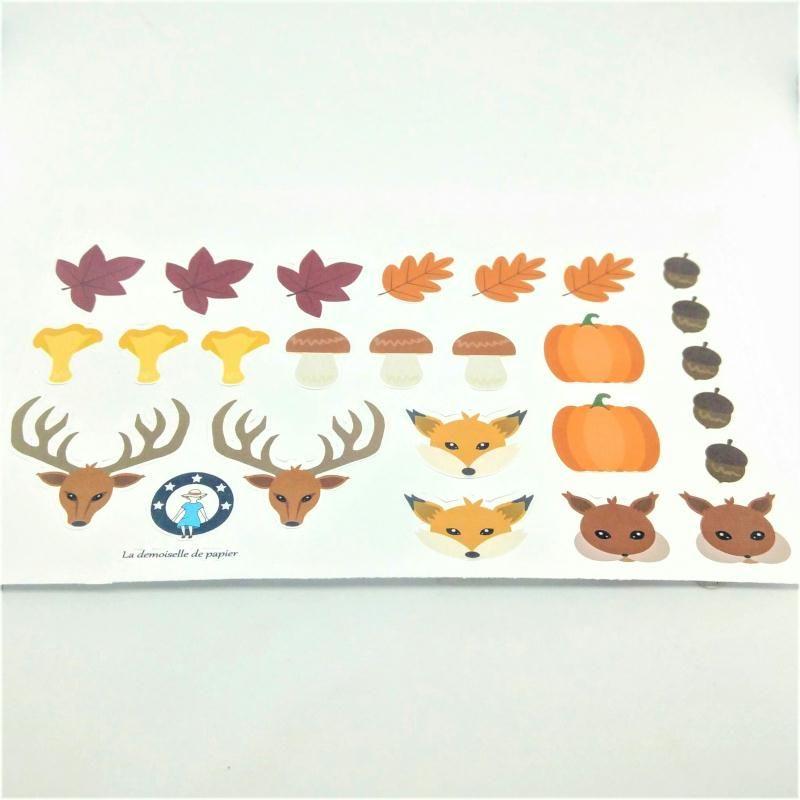 Planche de 25 stickers en papier thème automne animaux et forêt - Photo n°1