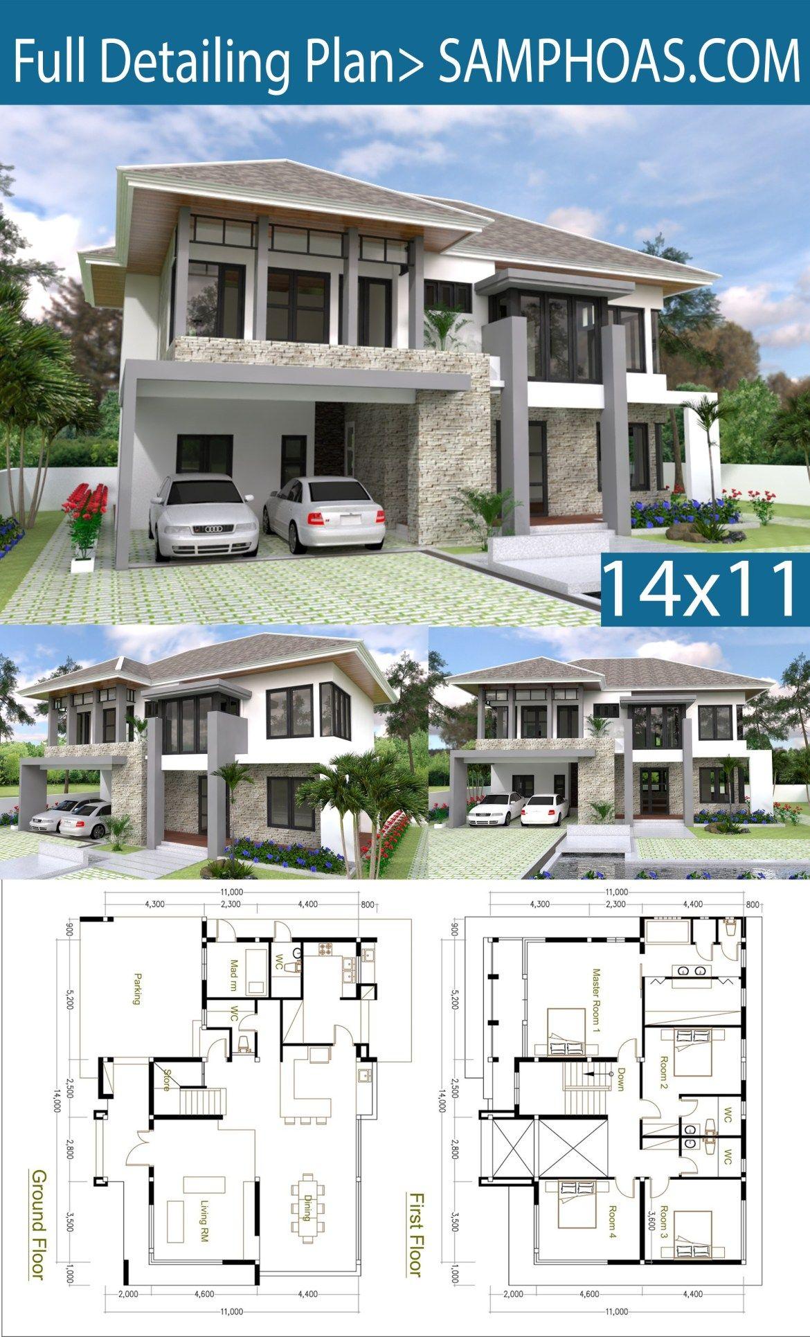 4 Bedrooms Home Design Plan Size 14x11m Samphoas Plansearch House Architecture Design Modern House Plans House Layout Plans