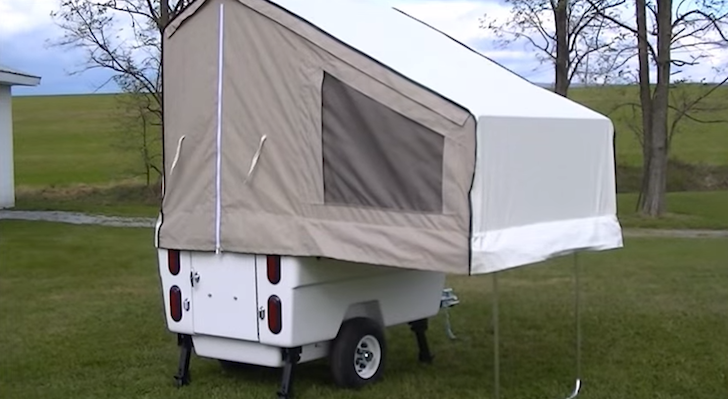 This Kompact Kamp Mini Mate Motorcycle Trailer Sleeps Two