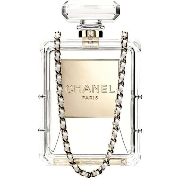 Pre-owned CHANEL bag Runway No.5 Perfume Bottle Clutch clear... (€17.745) ❤ liked on Polyvore