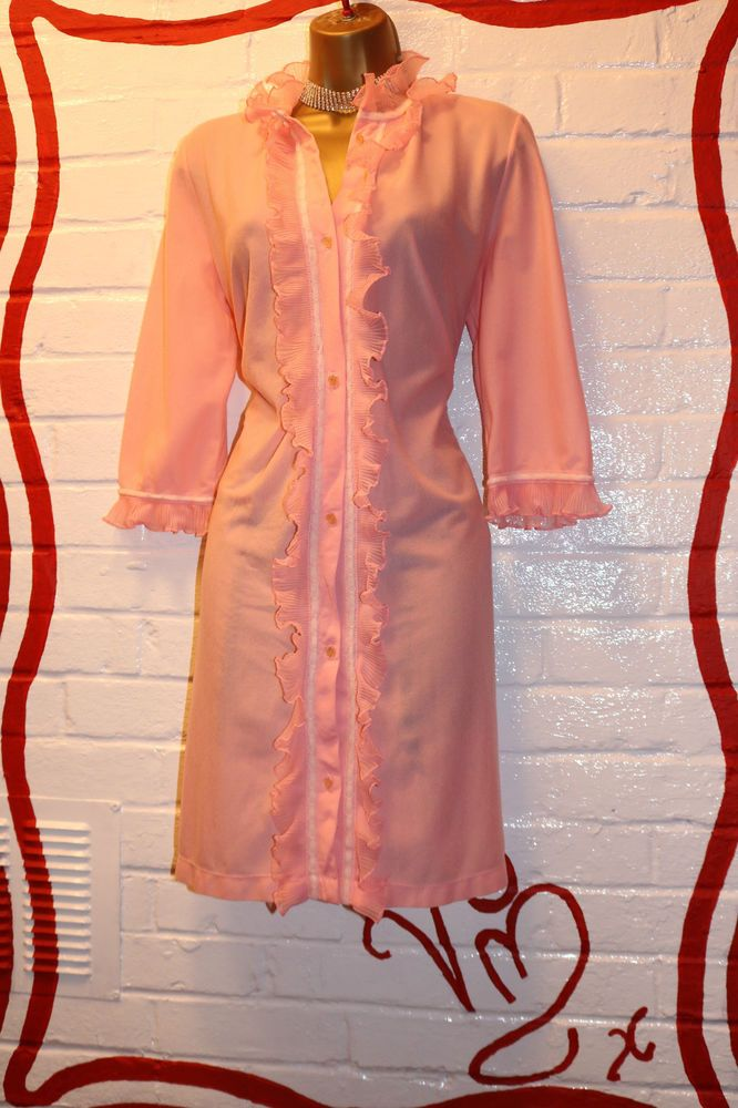 Vtg 1960s St Michael Pink Nylon Frilly Trimmed Soft Dressing Gown ...