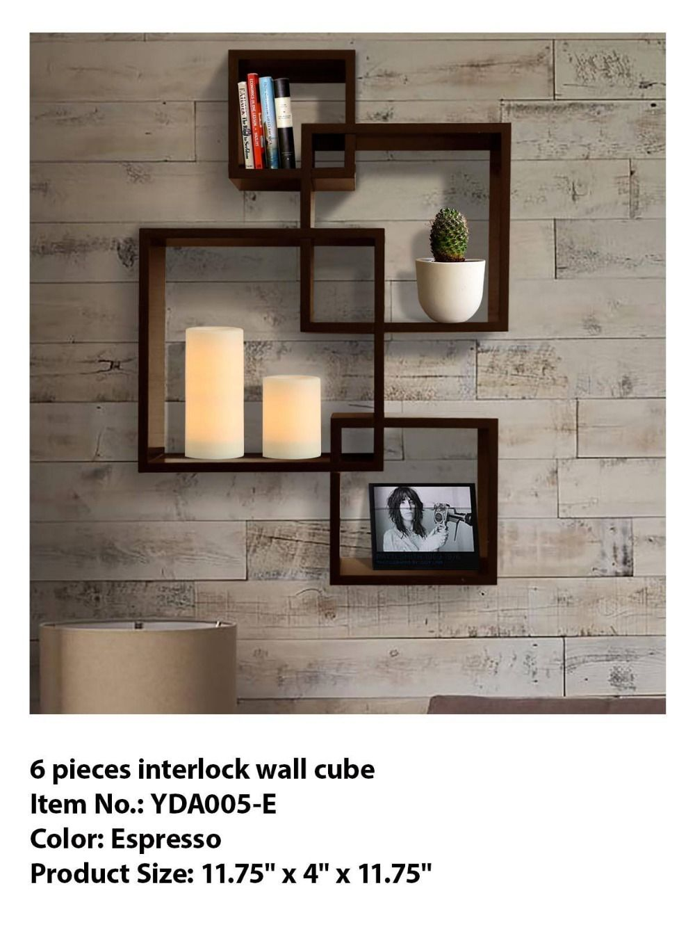 6 Pieces Interlock Wall Cube Decorative Wooden Wall Cubes Cube