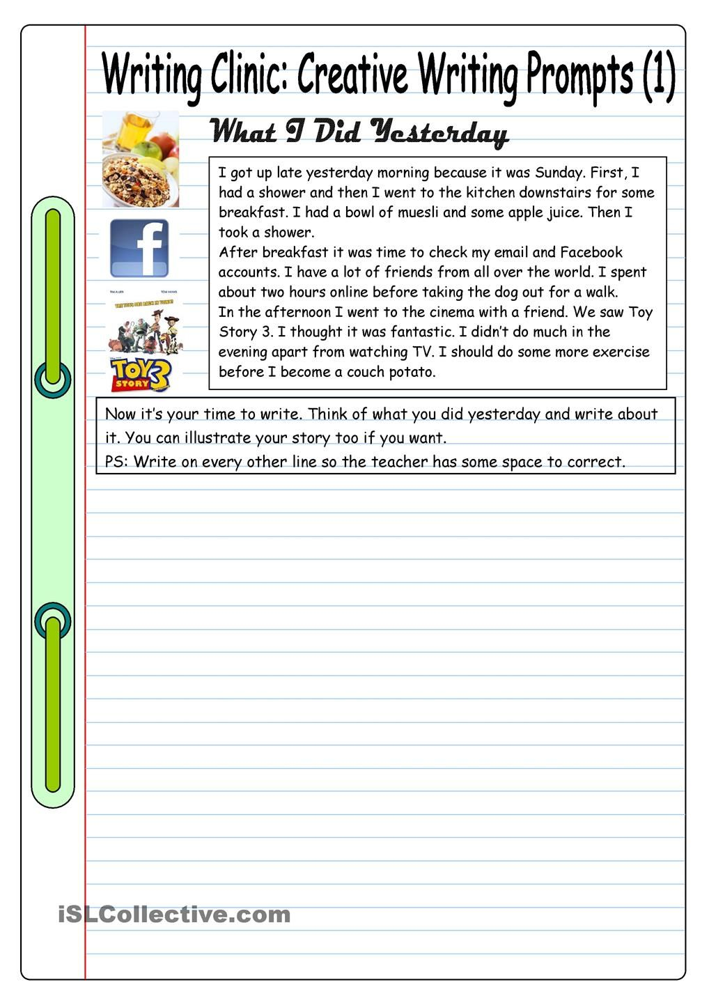 worksheet Creative Writing Prompts Worksheets writing clinic creative prompts 1 what i did yesterday to get students this worksheet comes with a short sample story so stud