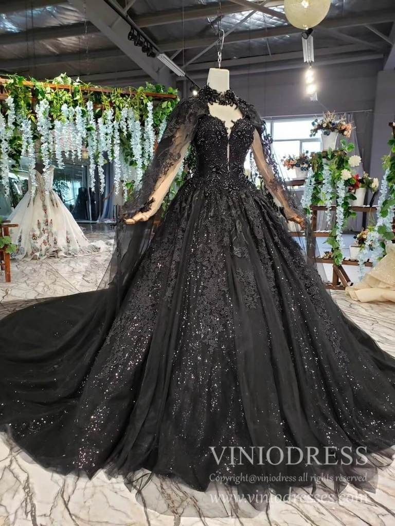 Sparkly Black Lace Ball Gown Wedding Dress With Cap Vintage Formal Dress Fd1926 Black Lace Wedding Dress Black Lace Wedding Wedding Dresses Lace Ballgown