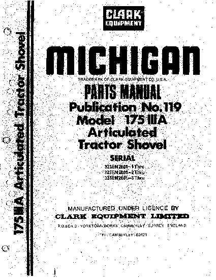 MICHIGAN 175IIIA 2362 WHEEL LOADER Parts Manual PDF