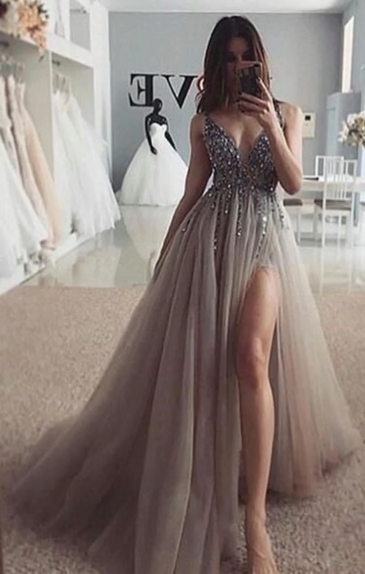 Grey Prom Dress Silver Beading, Ball Gown, Evening Dress,Birthday