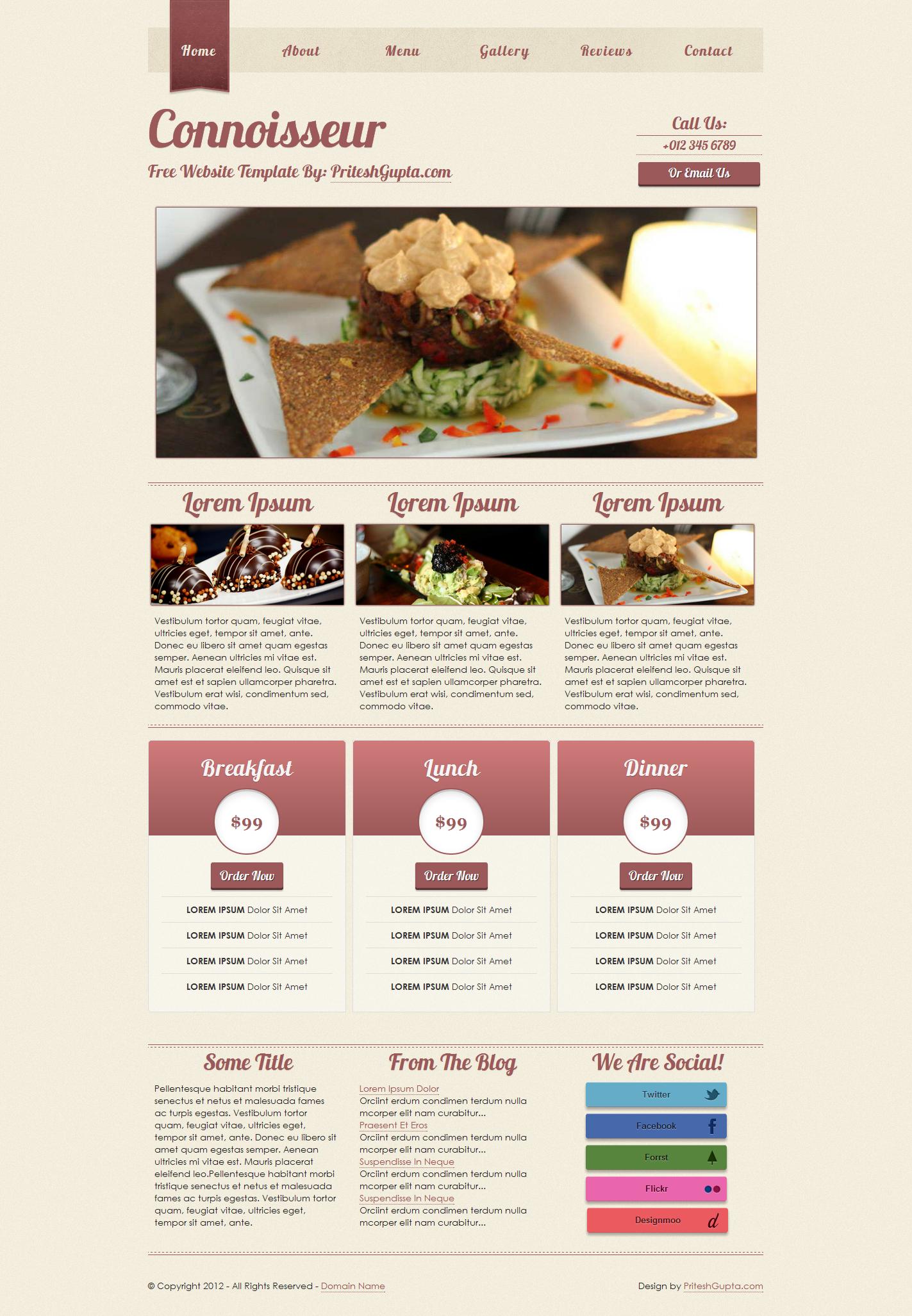 Connoisseur Free Restaurant Website Template