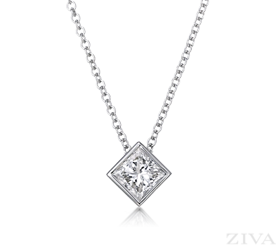 a2ef354a158ea Princess Cut Diamond Necklace in Bezel Setting | Just pretty ...
