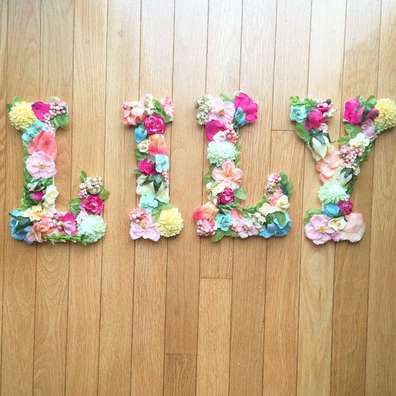 Floral Letters Nursery Letters Baby Shower Decor Bridal