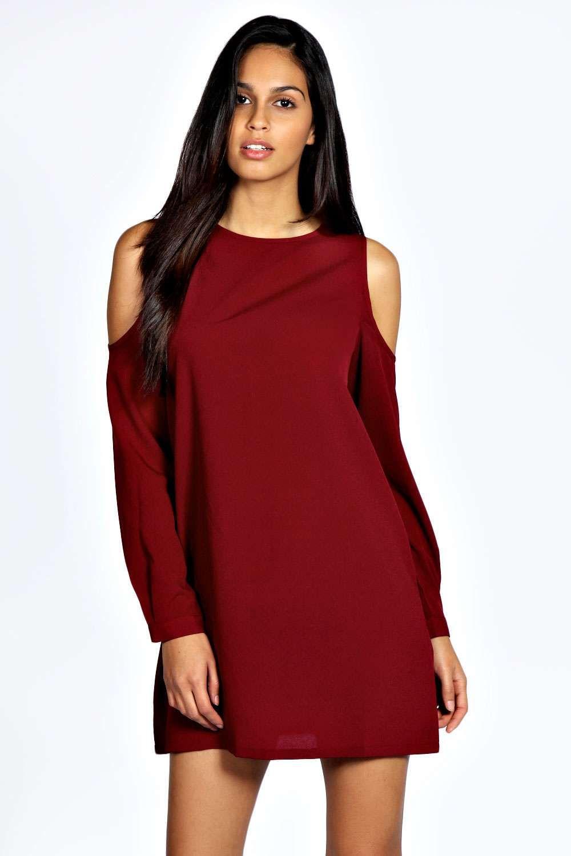 e6522c421b6c Jen Solid Colour Open Shoulder Shift Dress alternative image ...