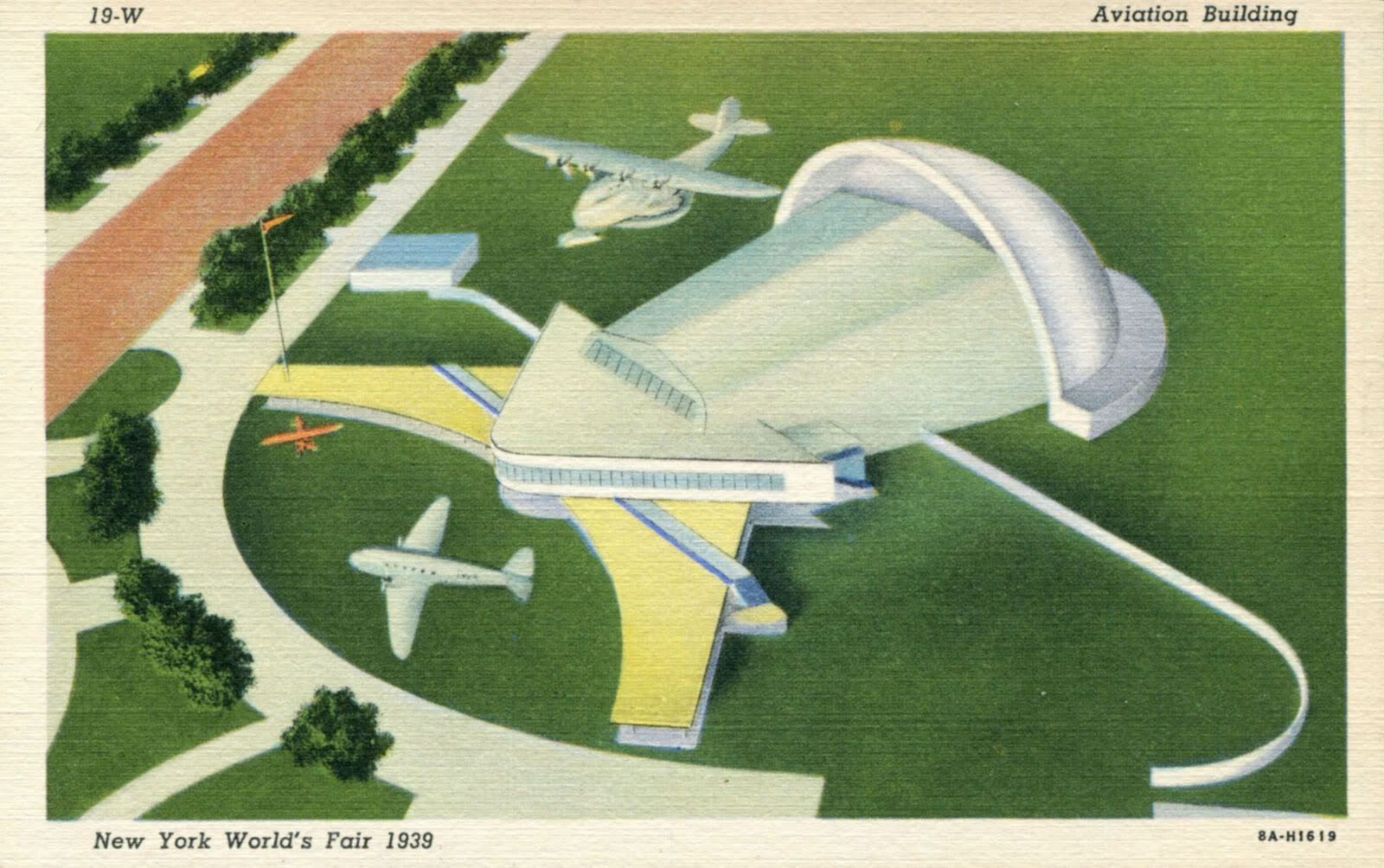 Aviation Building,  New York World's Fair, 1939. Airplane inside simulated flight with propellors spinning, clouds moving.