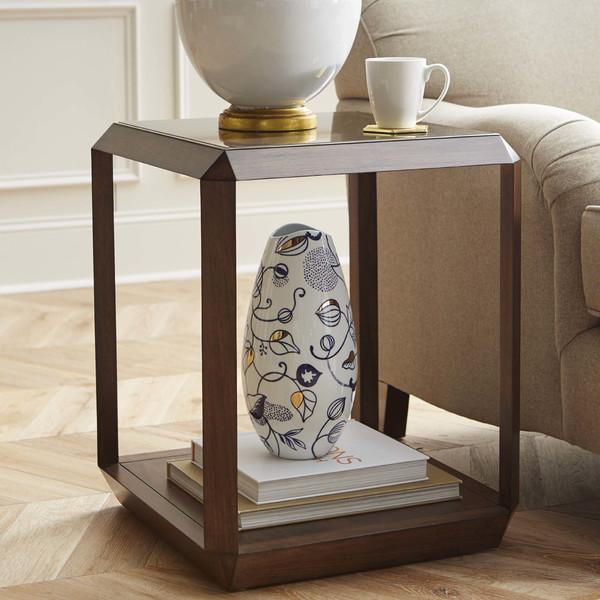 Hartmann Glass Top Walnut Side Table, Wood End Tables With Glass Top