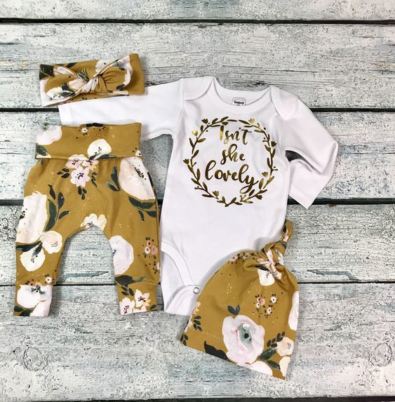 Photo of newborn girl coming home outfit/baby girl isn't she lovely floral set/newborn girl mustard floral set