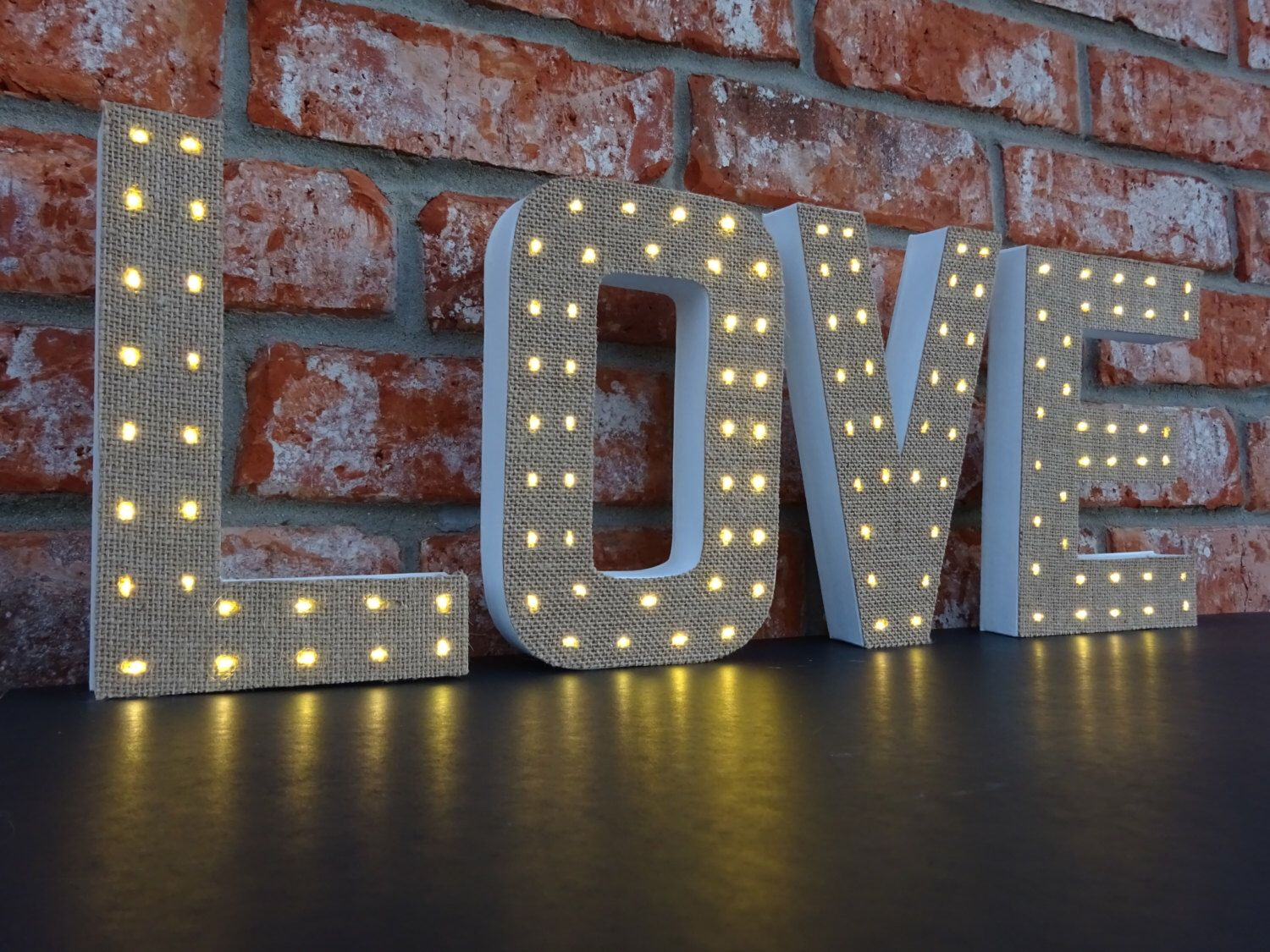 Lighted Wall Letters Marquee Letters  Unique Lighted Letters  Burlap Decor  8 Inch