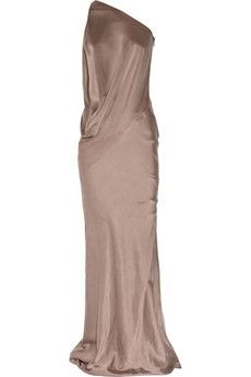 KAUFMANFRANCO | One-shoulder washed stretch-silk gown | NET-A-PORTER.COM - StyleSays