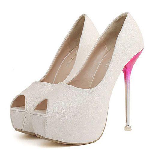 Fashion Round Peep Toe Platform Stiletto Super High Heel White PU Basic Pumps #Unbranded #Stilettos