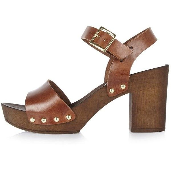 87ec1745f8 River Island Brown leather two strap clogs ($55) ❤ liked on Polyvore  featuring shoes, clogs, brown, sandals, shoes / boots, women, studded clogs,  ...