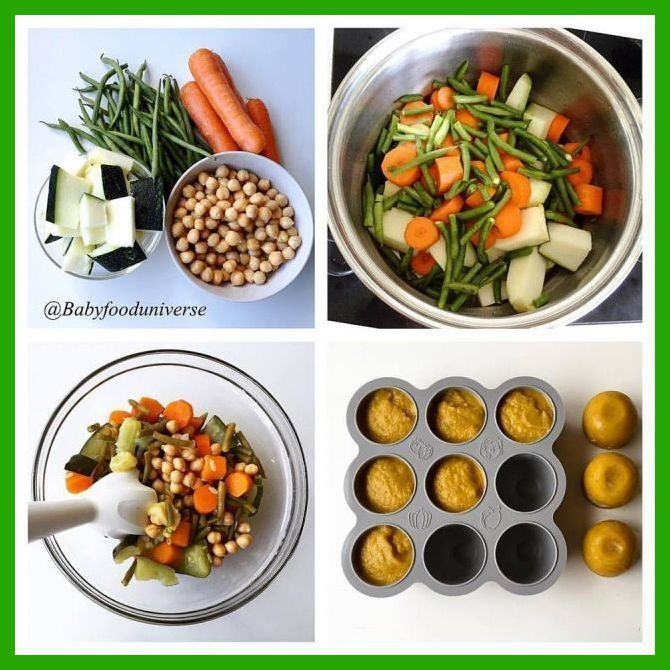 Baby39s wholesome vegetable  chickpea purée full of nutrients and a good source of prote Babys wholesome vegetable  chickpea purée full of nutrients and a g...