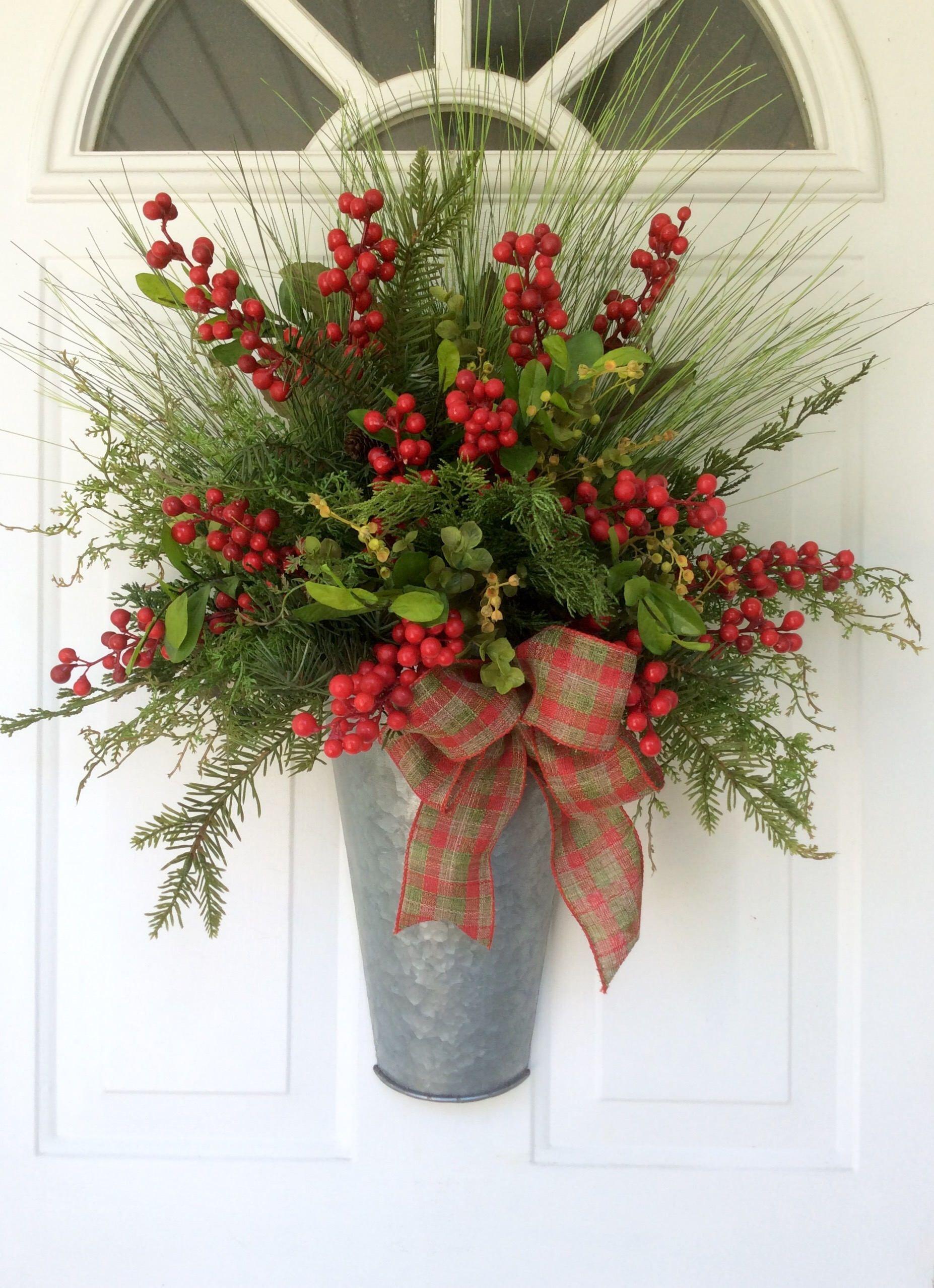 Christmas wreathwinter berry basketfarmhouse christmas