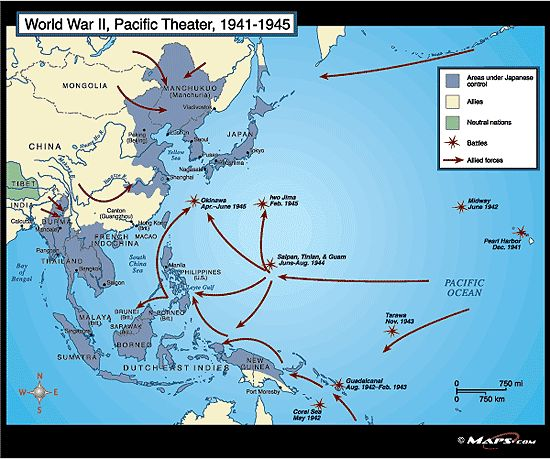 This map shows the Pacific Theater during World War II