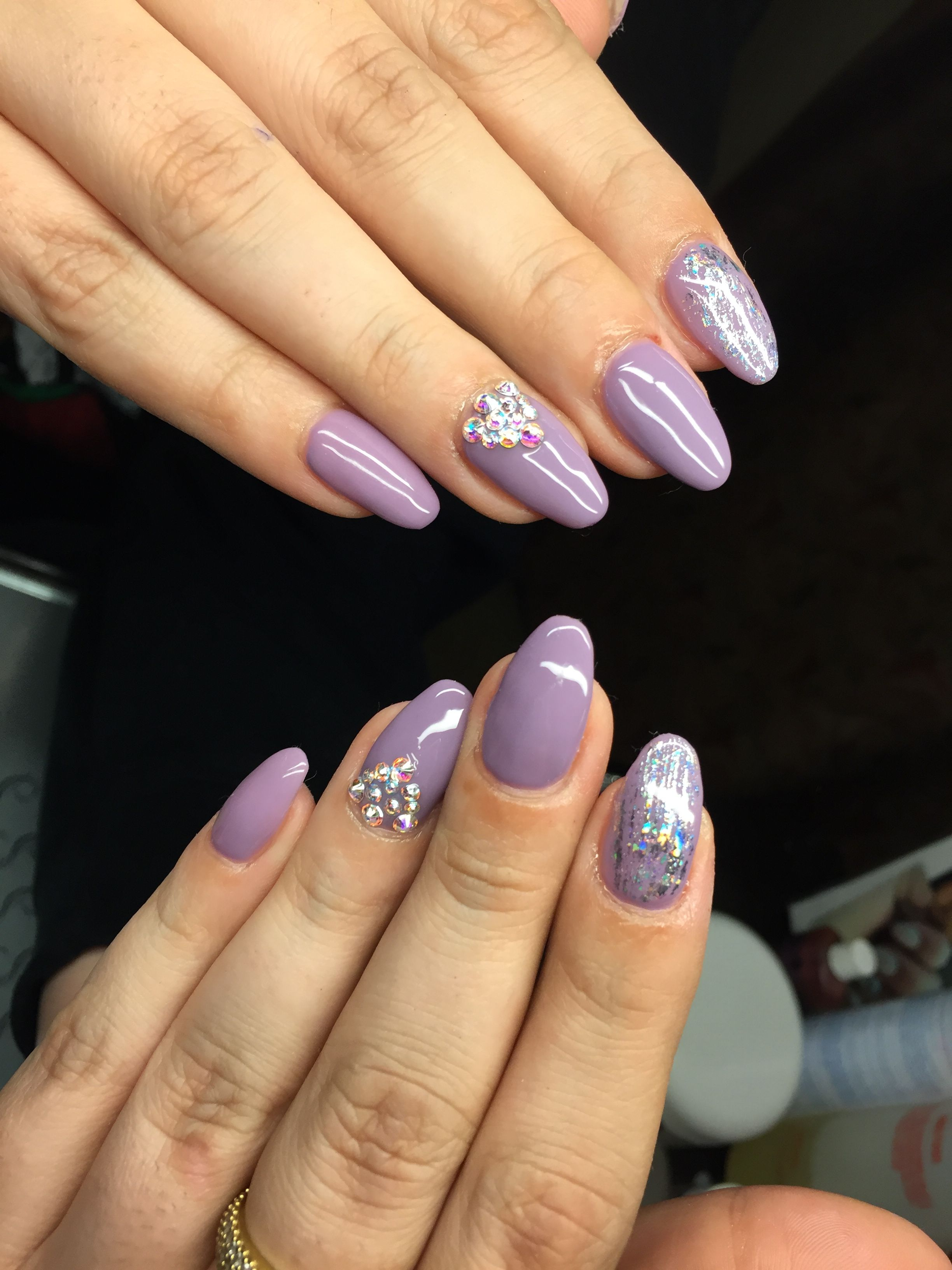 Almond acrylic nails spring purple Swarovski stones follow on ...