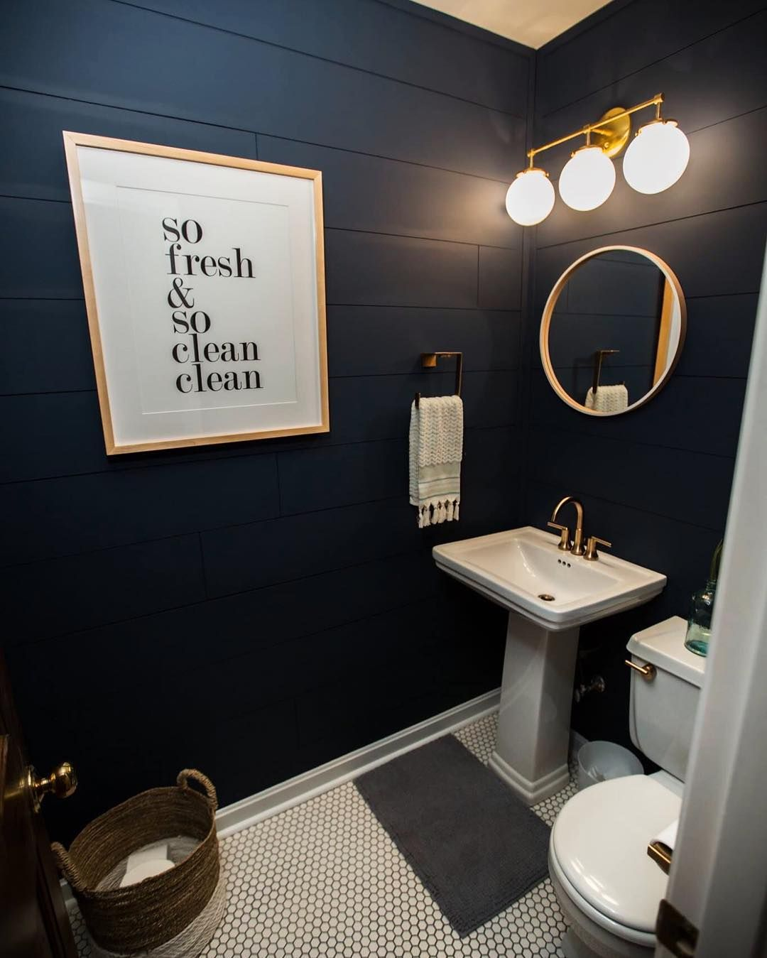 Powder room renovation complete. This might be the only room that