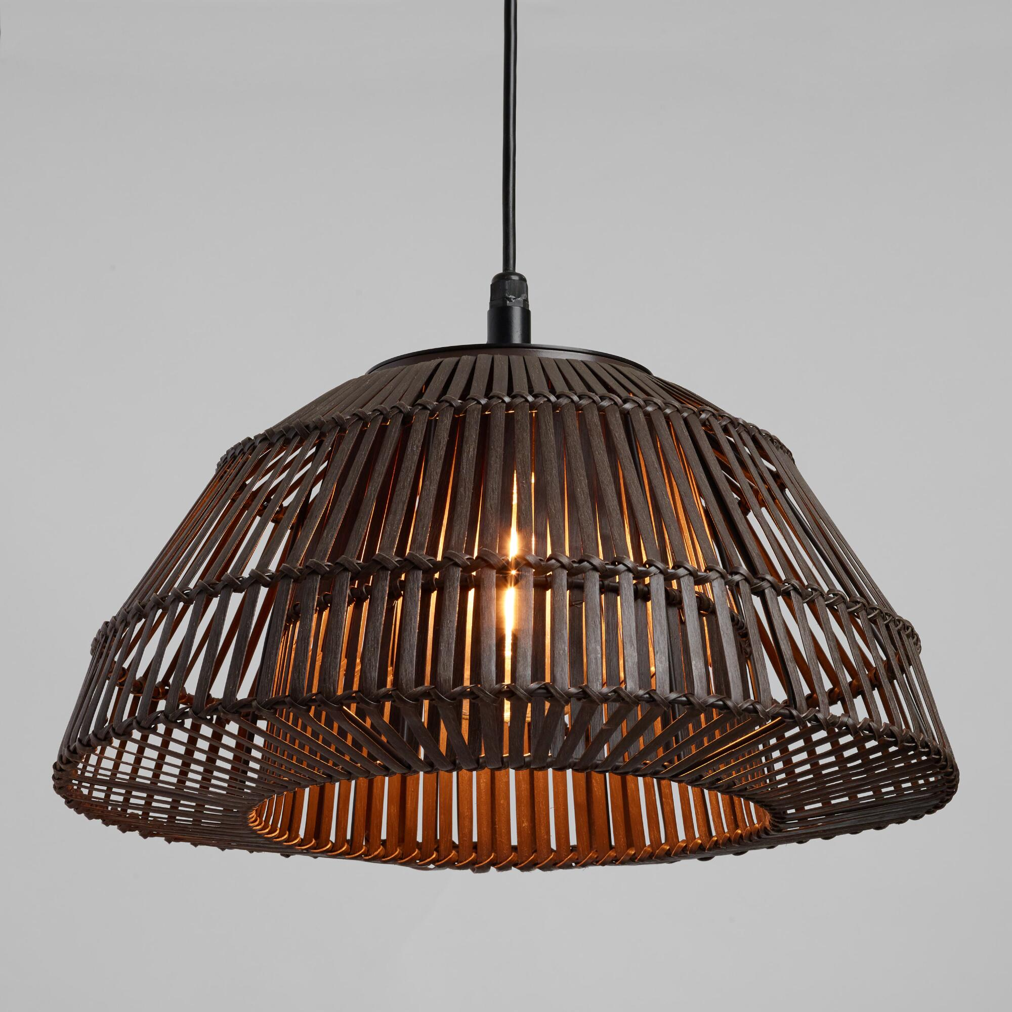 Gray Woven Rattan Dome Outdoor Patio Pendant Shade By World
