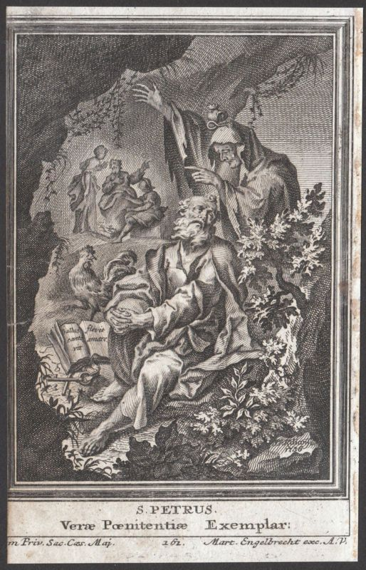 Old Holy Card Saint Peter 18th Century Very Rare Engraving Martin Engelbrecht