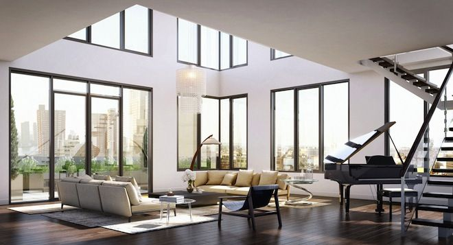 Double Height Living Room Bringing The Outside In Large Glass Wall Living Room Design