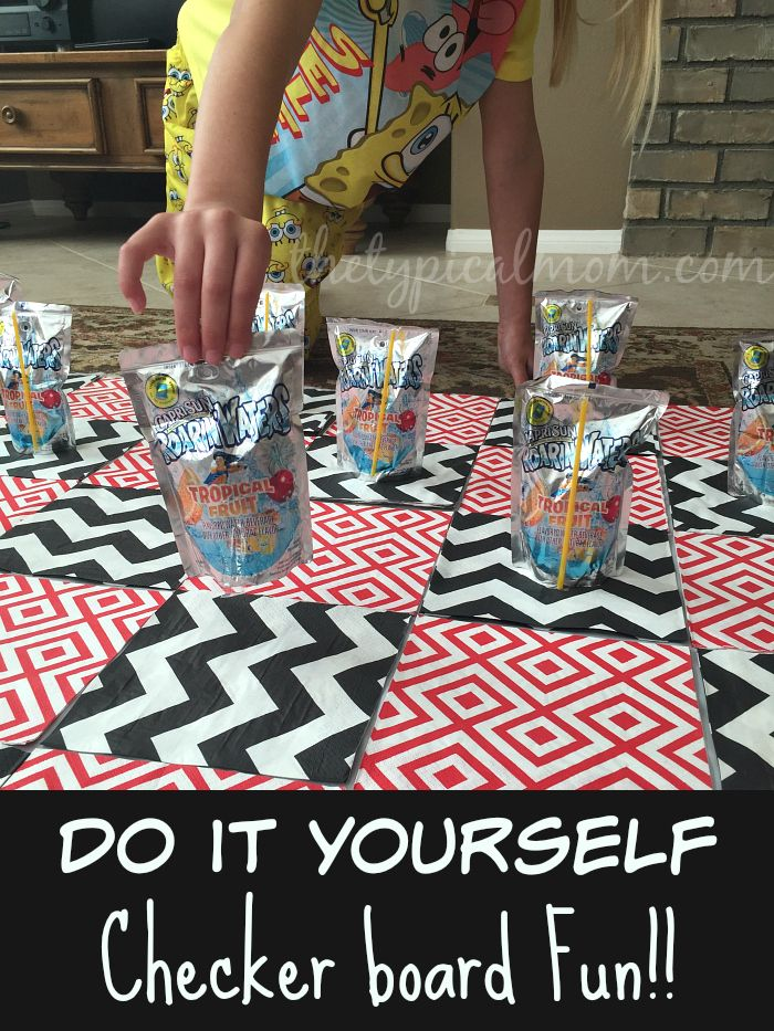 Easy do it yourself games to play at home with kids with just easy do it yourself games to play at home with kids with just napkins a tablecloth and capri sun roarin water pouches you can make a game of checkers solutioingenieria Choice Image