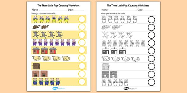 the three little pigs counting sheet year 2 home schooling