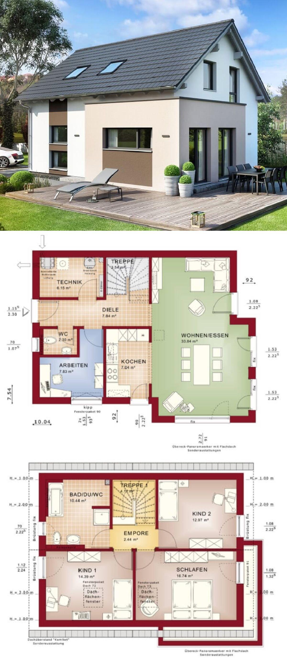 einfamilienhaus neubau klassisch mit satteldach architektur erker anbau haus bauen grundriss. Black Bedroom Furniture Sets. Home Design Ideas