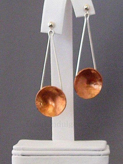 Sterling Silver & Copper Earrings by Sneekbead on Etsy, $48.00