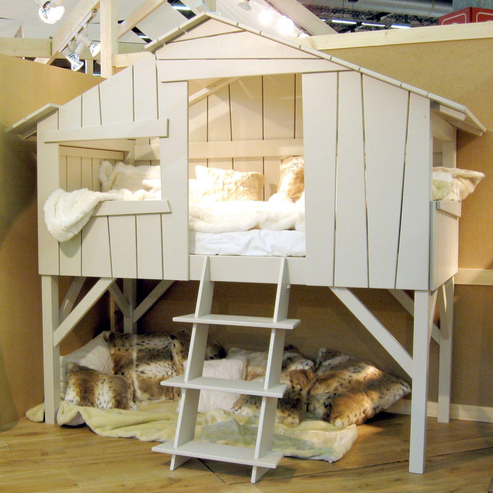 LIt cabane enfant finition laqué blanc (90 x 190 cm) : Mathy by ...