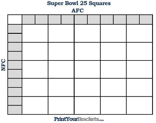 printable square nfl super bowl grid template