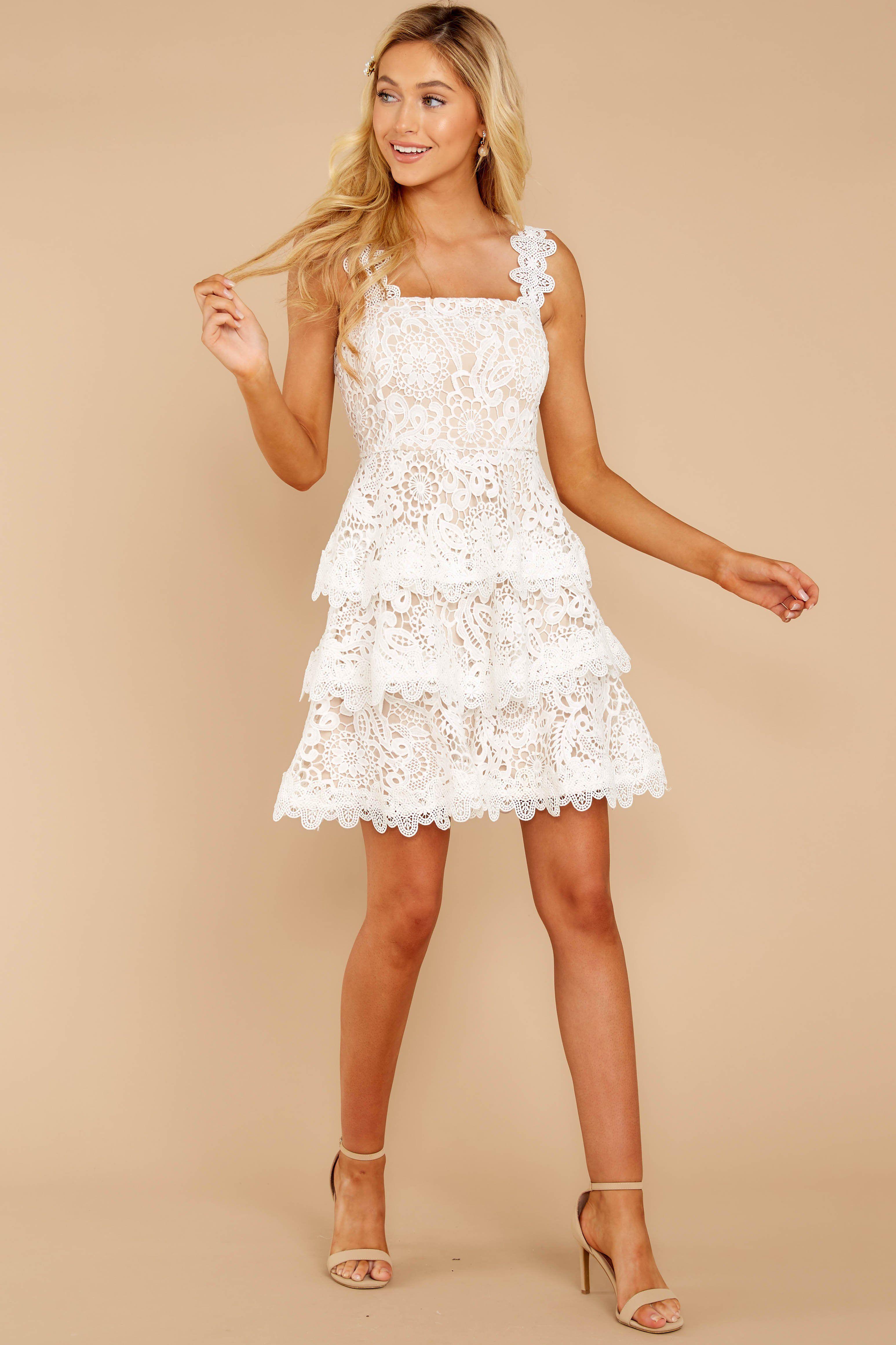 Gorgeous White Lace Dress Short Tiered Lace Dress Dress 64 00 Short Lace Wedding Dress Short Lace Dress Lace White Dress [ 4639 x 3093 Pixel ]