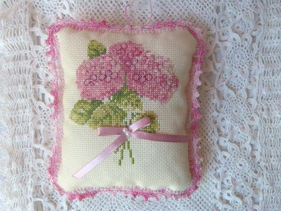 Flower Pillow Decorative  Pink Pillow by CrossStitchElizabeth