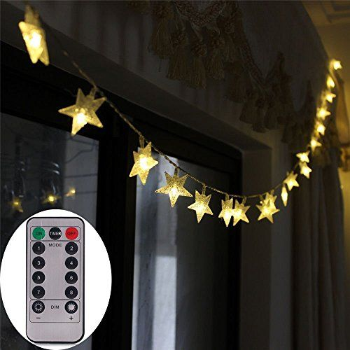 Battery Operated Warm White Christmas Star LED String Lights w Timer