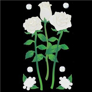 White Long Stem Roses Dimensional Stickers | Shop Hobby Lobby
