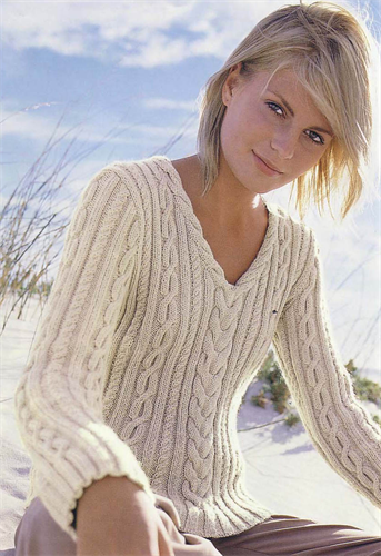 Knitting Pattern Ladies V Neck Jumper : Bergere de France V Neck Cable Sweater Knitting Pattern Pinterest Sweater...