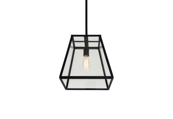 Retro Industrial Pendant Light With Metal Framed Glass Box