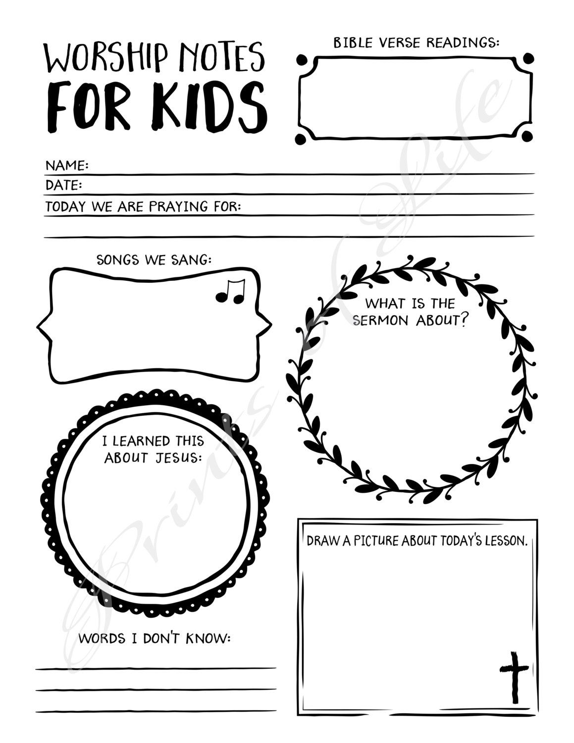 Worship Notes For Kids Printable Instant Download