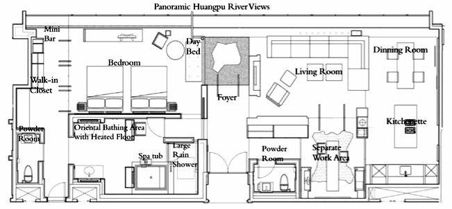 Park Hyatt Shanghai Chairman Suite Hotel Room Plan Craftsman Floor Plans Apartment Plans