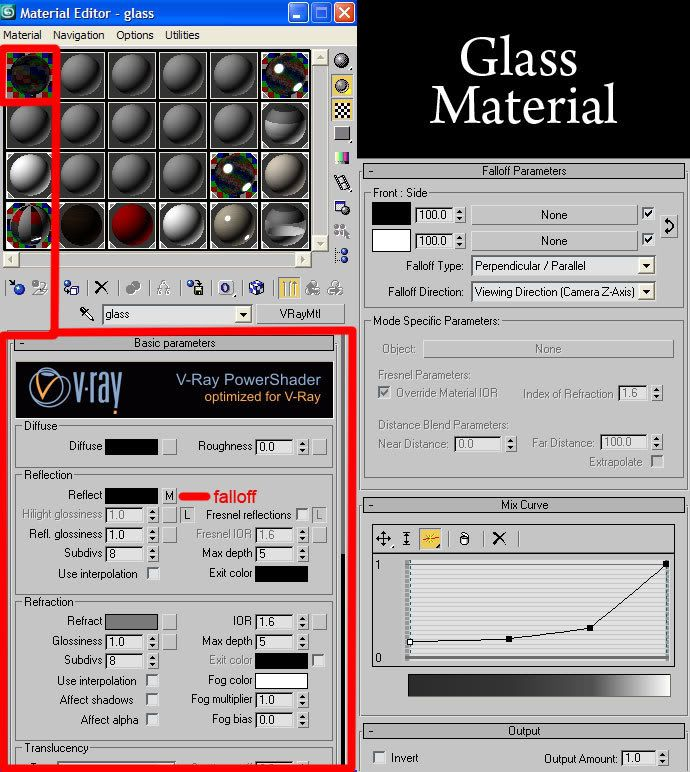 Glass Settings Vray Material Glass Pinned By Www Modlar Com 3ds