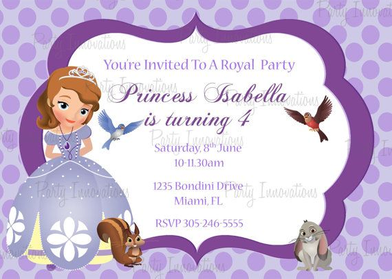 Printable Sofia The First Birthday Party Invitation Crafts