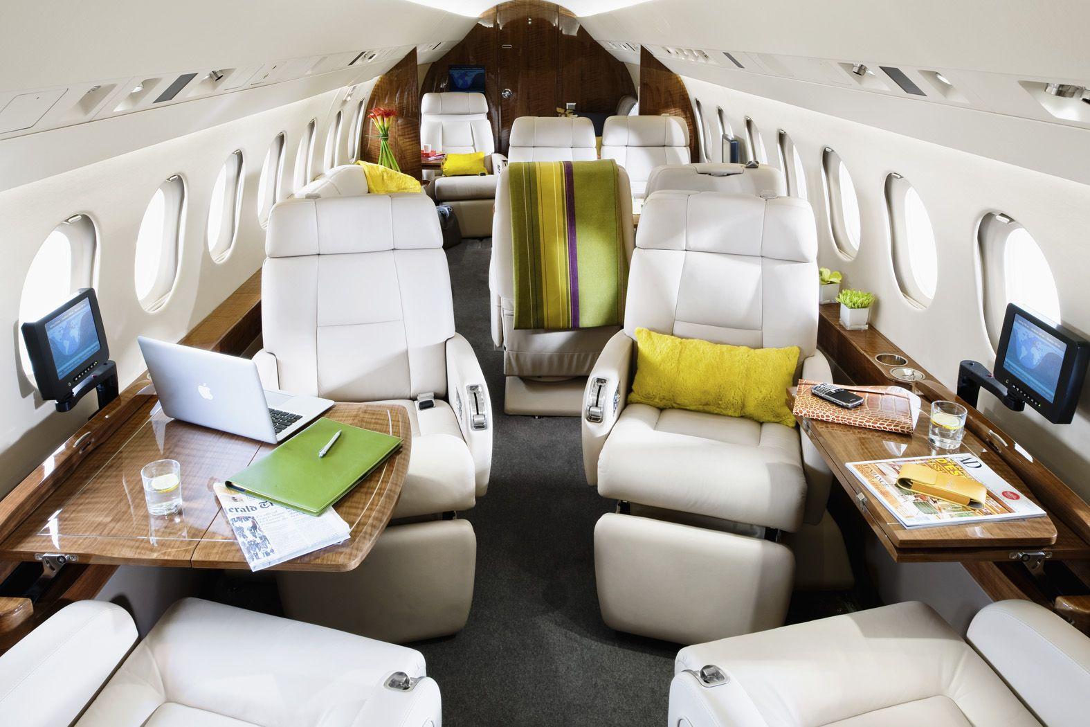 Interior of dassault falcon 900ex dx lx aircraft