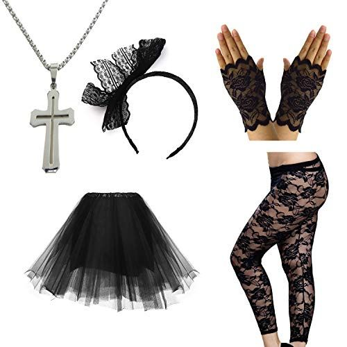 80s Pop Diva Costume Accessories for Women's Madonna Party Outfit