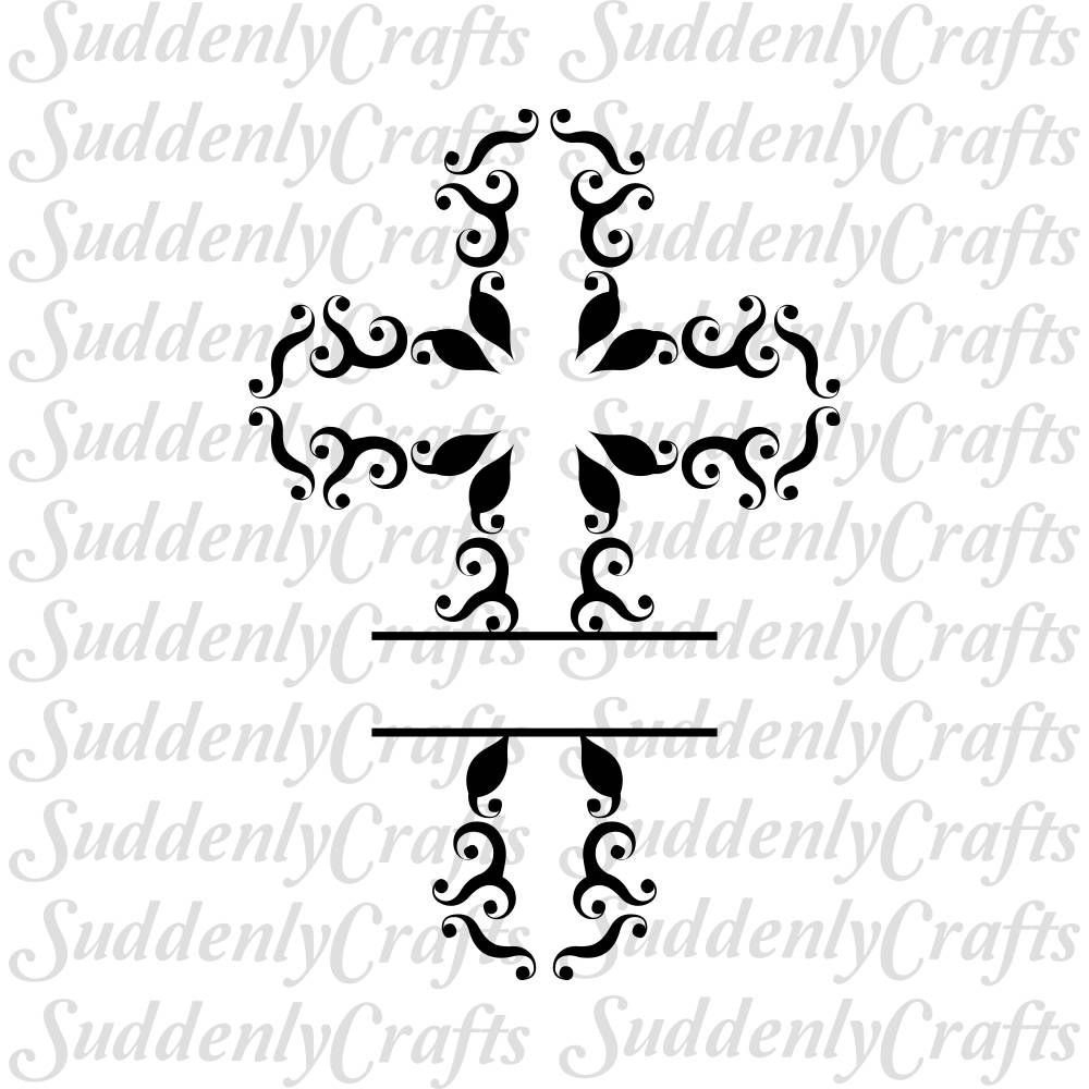 SVG Swirl Cross Split Monogram, Cricut and Silhouette Cut