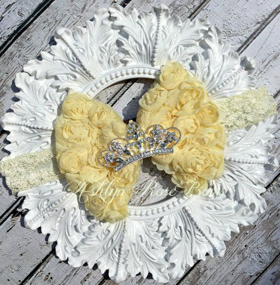 Yellow Rosette Crown Rosette Bow Headband by AshlynRoseBows