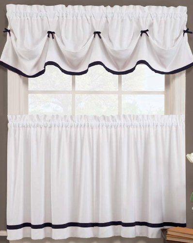 Kate Elegance Kitchen Curtain Set Valance 58 X 13 Tier Pair 57 X 24 Black White Kitchen Curtains Valance Black White Curtains